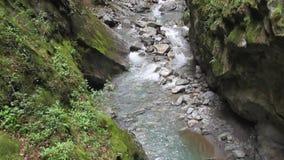 Fiume nella gola Trient della montagna Vernayaz, Martigny, Svizzera stock footage