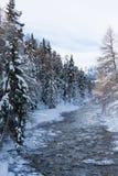 Fiume nella tempesta della neve Fotografia Stock Libera da Diritti