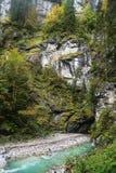 Fiume nelle alpi bavaresi, Germania Fotografia Stock Libera da Diritti