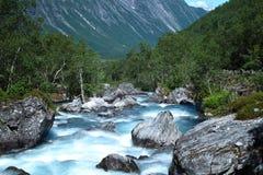 Fiume in Norvegia, Trollstigen Fotografia Stock