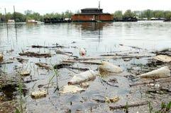 Fiume Sava di inquinamento Immagini Stock