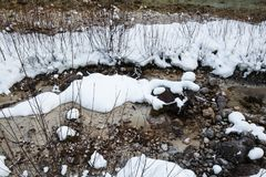Fiume scenico di inverno di Snowy che entra nelle alpi julian delle montagne, Slovenia Fotografie Stock
