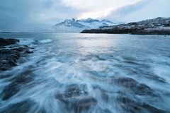 Fiume selvaggio di inverno islandese che entra nel canyon Fiume islandese selvaggio di inverno coperto in neve e ghiaccio Bello g immagine stock libera da diritti