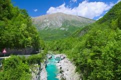 Fiume selvaggio nelle alpi (Soca/Isonzo) Fotografia Stock