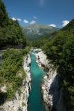 Fiume Soca delle montagne in Julian Alps, Slovenia Immagine Stock Libera da Diritti