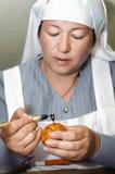 Fiume storico di festival di tempo, Birsk, Bashkir nella Repubblica russa, il 30 giugno 2017 Ritratto delle sorelle di pietà Fotografia Stock Libera da Diritti