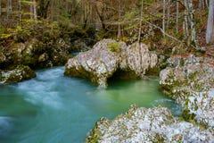 Fiume stupefacente nelle montagne, Mostnica Korita, alpi di Julia Fotografia Stock