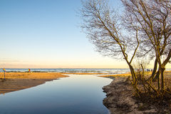 Fiume sulla spiaggia Fotografia Stock
