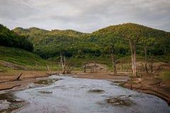 Fiume, terra di siccità così lungamente senz'acqua Fotografia Stock Libera da Diritti