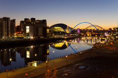 Fiume Tyne alla notte Fotografia Stock