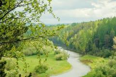 Fiume in valle di Akkem nel parco naturale delle montagne di Altai, dintorni della montagna di Belukha Fotografia Stock Libera da Diritti