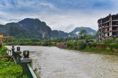 Fiume Vang Vieng Laos di canzone Immagine Stock Libera da Diritti