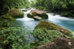 Fiume vicino a Bijagua, Costa Rica di Rio Celeste immagine stock