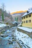 Fiume vicino a Saline de Bex nell'inverno Svizzera Fotografia Stock Libera da Diritti