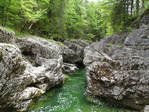Fiume Walchen vicino al lago Sylvenstein Fotografie Stock