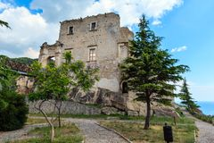 Fiumefreddo Bruzio town, Calabria, Italy. Fiumefreddo Bruzio Castello della Valle Fiumefreddo Castle, founded in 1201, province of Cosenza, Calabria, Italy royalty free stock photo