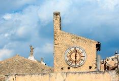 Fiumefreddo Bruzio clock, Calabria, Italy. Fiumefreddo Bruzio clock one of Most Beautiful Villages on mountain hill top above Tyrrhenian sea coast, province of stock images