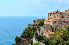 Fiumefreddo Bruzio town, Calabria, Italy. Fiumefreddo Bruzio one of Italy's Most Beautiful Villages on mountain hill top above Tyrrhenian sea coast stock photography
