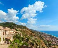 Fiumefreddo Bruzio town, Calabria, Italy. Fiumefreddo Bruzio one of Italy's Most Beautiful Villages on mountain hill top above Tyrrhenian sea coast stock image