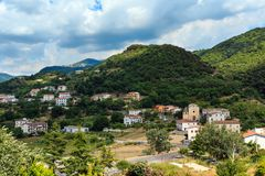 Fiumefreddo Bruzio town, Calabria, Italy. Fiumefreddo Bruzio one of Italy Most Beautiful Villages on mountain hill top above Tyrrhenian sea coast, province of royalty free stock photo