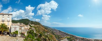 Fiumefreddo Bruzio town, Calabria, Italy. Fiumefreddo Bruzio one of Italy Most Beautiful Villages on mountain hill top above Tyrrhenian sea coast, province of stock photo
