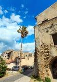 Fiumefreddo Bruzio town, Calabria, Italy. Fiumefreddo Bruzio street one of Italian Most Beautiful Villages, on mountain hill top above Tyrrhenian sea coast royalty free stock photo