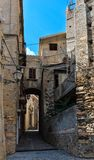 Fiumefreddo Bruzio town, Calabria, Italy. Fiumefreddo Bruzio street one of Italy Most Beautiful Villages, on mountain hill top above Tyrrhenian sea coast stock images