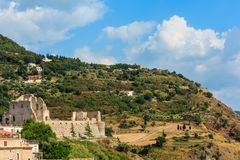 Fiumefreddo Bruzio town, Calabria, Italy. Fiumefreddo Bruzio one of Italy's Most Beautiful Villages on mountain hill top above Tyrrhenian sea coast royalty free stock images
