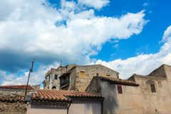 Fiumefreddo Bruzio town, Calabria, Italy. Fiumefreddo Bruzio street one of Italy's Most Beautiful Villages, on mountain hill top above Tyrrhenian sea stock photography