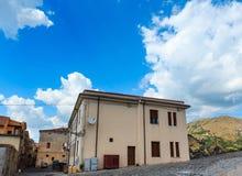 Fiumefreddo Bruzio town, Calabria, Italy. Fiumefreddo Bruzio street one of Most Beautiful Villages in Italy, on mountain hill top above Tyrrhenian sea coast stock photos