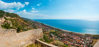 Fiumefreddo Bruzio town, Calabria, Italy. Fiumefreddo Bruzio one of Italy's Most Beautiful Villages on mountain hill top above Tyrrhenian sea coast royalty free stock photography