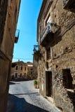 Fiumefreddo Bruzio town, Calabria, Italy. Fiumefreddo Bruzio street one of Italy Most Beautiful Villages, on mountain hill top above Tyrrhenian sea coast stock photos