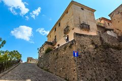Fiumefreddo Bruzio town, Calabria, Italy. Fiumefreddo Bruzio street one of Most Beautiful Villages in Italy, on mountain hill top above Tyrrhenian sea coast royalty free stock images