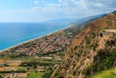 Fiumefreddo Bruzio town coast, Calabria, Italy. Fiumefreddo Bruzio coast one of Most Beautiful Villages in Italy, on mountain hill top above Tyrrhenian sea coast stock photography