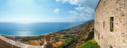 Fiumefreddo Bruzio view, Calabria, Italy. View to sea coast from Fiumefreddo Bruzio one of Italy's Most Beautiful Villages, on mountain hill top above stock photo