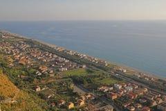 Fiumefreddo coast. The seabord of fiumefreddo del bruzio in south italy stock image