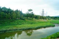 Fiumi e paesaggio di verde Fotografie Stock Libere da Diritti