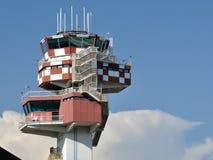 Fiumicino air traffic control tower. Air traffic control tower at Rome's Fiumicino airport in Italy stock photo