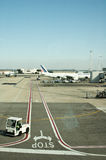 Fiumicino airport and air france plane. Fiumicino airport air side and air france plane Royalty Free Stock Image