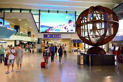 Fiumicino Airport interior. ROME, ITALY - AUGUST 16, 2015: Fiumicino Airport interior. Fiumicino - Leonardo da Vinci International Airport is a major royalty free stock photos