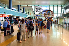 Fiumicino Airport interior. ROME, ITALY - AUGUST 16, 2015: people in Fiumicino Airport. Fiumicino - Leonardo da Vinci International Airport is a major stock photo