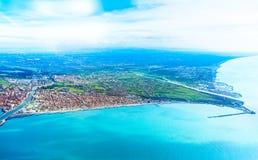 Fiumicino-Bucht von den Flugzeugen Stockbilder