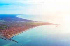 Fiumicino-Bucht von den Flugzeugen Lizenzfreie Stockbilder
