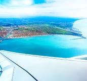 Fiumicino-Bucht von den Flugzeugen Lizenzfreies Stockbild