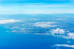 Fiumicino-Bucht von den Flugzeugen Stockfoto