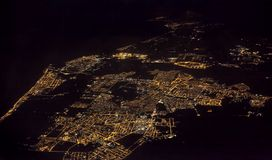Fiumicino city near Rome, Italy. Sea coast, view from airplane at night Stock Image