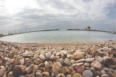 Fiumicino Touristic Harbor. Fish-eye view of the touristic harbor in Fiumicino, Rome, Italy Royalty Free Stock Photos