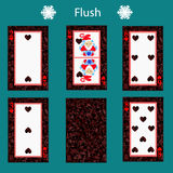 Fiush playing card poker combination.  illustration eps 10. On a green background. To use for design, registration, the webs Royalty Free Stock Images