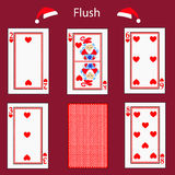 Fiush playing card poker combination.  illustration eps 10. On a red background. To use for design, registration, the websit Stock Images