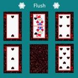 Fiush som spelar kortpokerkombination Illustration EPS 10 På en grön bakgrund Att att använda för design registrering, rengörings vektor illustrationer